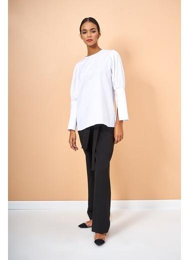 Eda Atalay Uzun Kollu Gömlek Beyaz